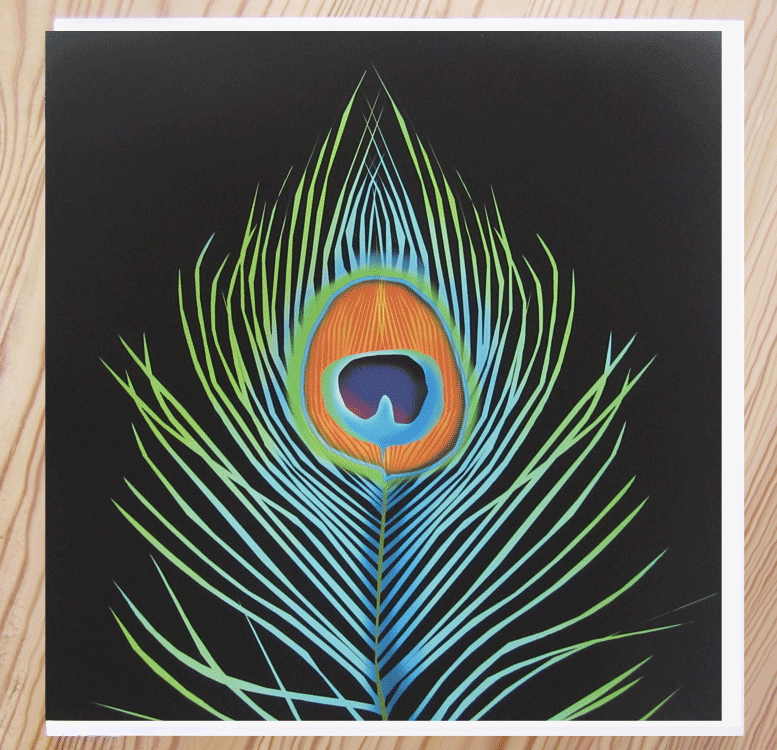 greeting card peacock feather tip
