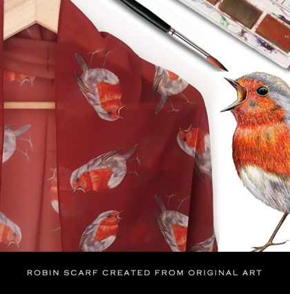 The perfect Christmas gift! Robin scarf created from art.