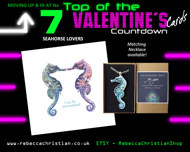 Seahorse Valentines Day Card & Gift